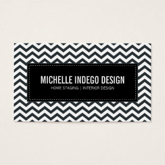 BUSINESS CARD fresh chevron pattern black white