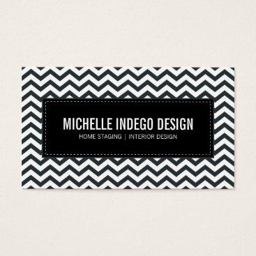 Professional Business BUSINESS CARD fresh chevron pattern black white