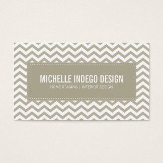 BUSINESS CARD fresh chevron pattern taupe