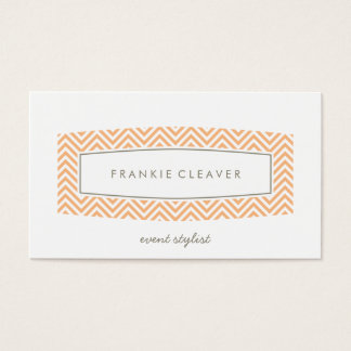 BUSINESS CARD fresh chevron patterned panel peach