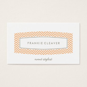 Professional Business BUSINESS CARD fresh chevron patterned panel peach