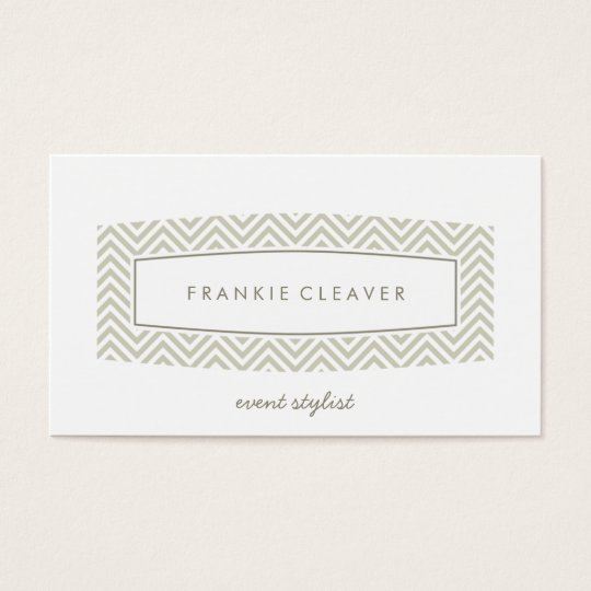 BUSINESS CARD fresh chevron patterned panel taupe