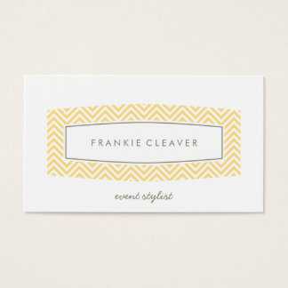 BUSINESS CARD fresh chevron patterned panel yellow
