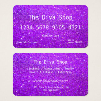 Business Card | Glitter Credit Card Purple