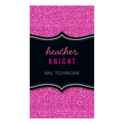 BUSINESS CARD glitzy glitter black magenta pink