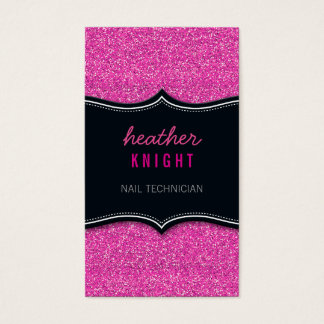 BUSINESS CARD glitzy glitter black magenta pink