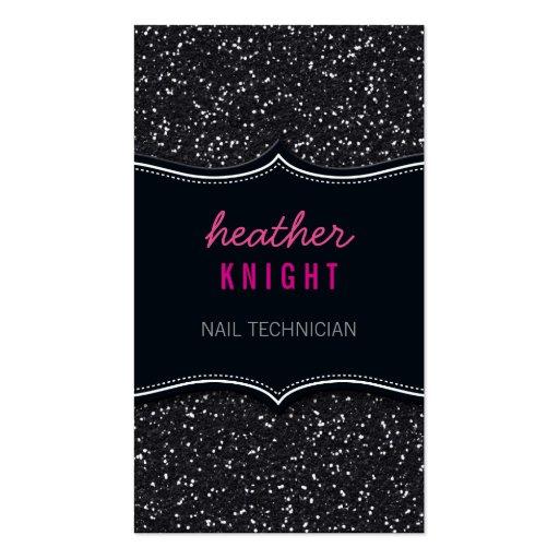 BUSINESS CARD glitzy glitter sparkle black pink