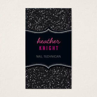 BUSINESS CARD glitzy glitter sparkle black pink