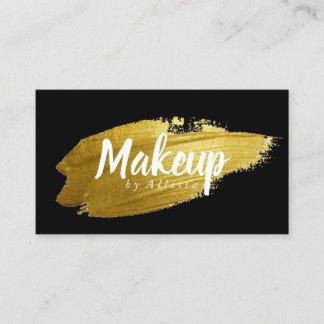 Business Card - Gold Brushstroke Makeup Black