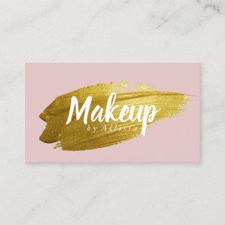 Business Card - Gold Brushstroke Makeup Blush