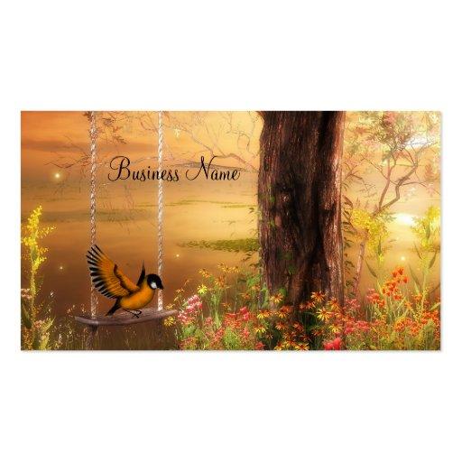 Business Card Golden Woodland Bird