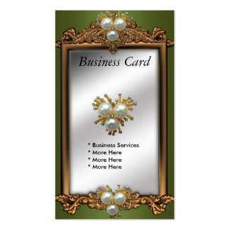 Business Card Green Gold Pearl Jewel Antique