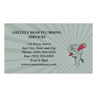 Business card Grizzly Bear Plumber Monkey Wrench C