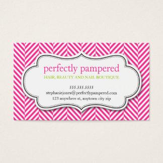 BUSINESS CARD herringbone pattern pink lime green