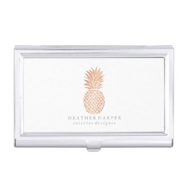 Professional Business Business Card Holder - Rose Gold Pineapple