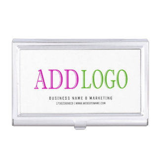 Business Card Holder Silver CORPORATE Custom Logo