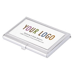 Business card holders cases zazzle business card holder silver metal case custom logo reheart Images