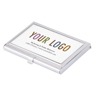 Business card holders cases zazzle business card holder silver metal case custom logo colourmoves Images