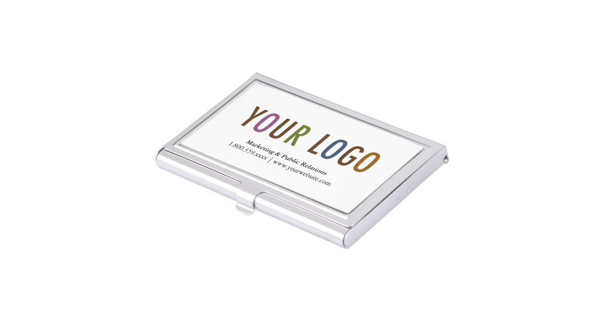 Business Card Holder Silver Metal Case Custom Logo | Zazzle.com