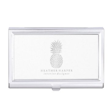 Professional Business Business Card Holder - Silver Pineapple