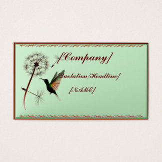 Business Card Horizontal Dandelion and Hummingbird