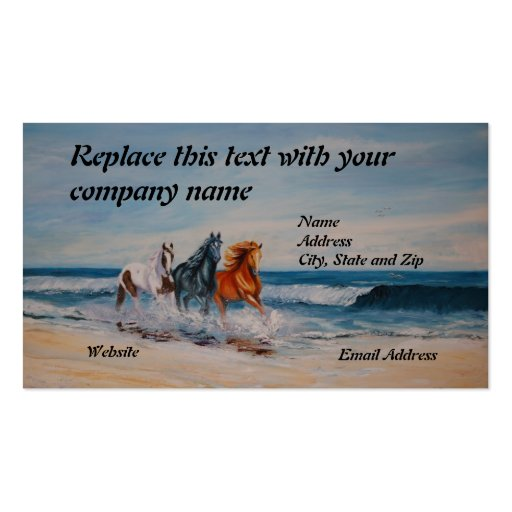 Business Card, Horses in the Surf
