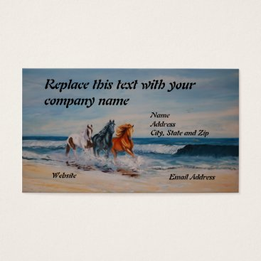 Professional Business Business Card, Horses in the Surf Business Card
