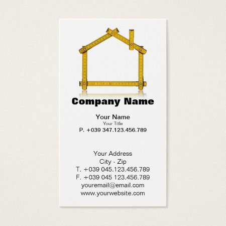 Unique Yellow Measuring Tape House Icon Home Builder Business Cards Template