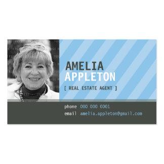 BUSINESS CARD :: jazzy photo blue stripe