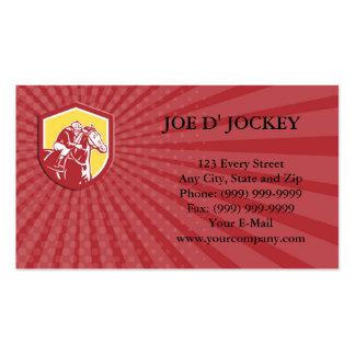Business card Jockey Horse Racing Shield Retro