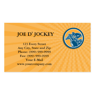 Business card Jockey Horse Racing Side Circle Retr