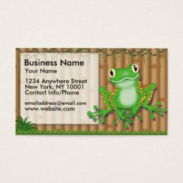 Business Card Jungle Fun Green Frog