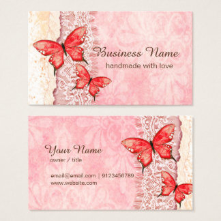 business card - lace, pink, butterflies
