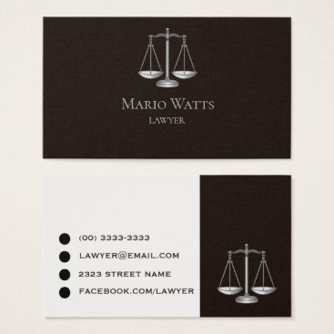Lawyer Themed Business Card Lawyer Black and Grey