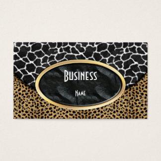 Business Card Leopard Black White Cow Purse