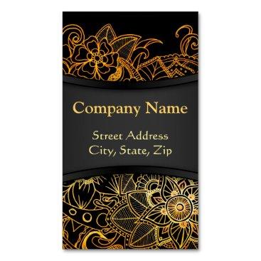 Business Card Magnet Floral Doodle Gold G523