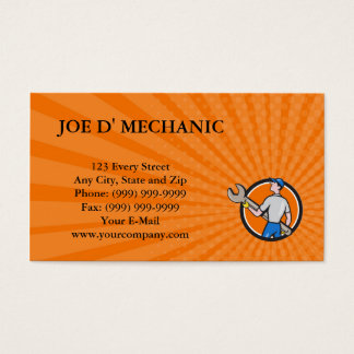 Business card Mechanic Carrying Giant Spanner Circ