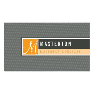 BUSINESS CARD modern blocked monogram orange grey