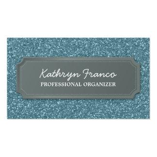 BUSINESS CARD modern bold sparkly blue glitter