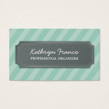 Professional Business BUSINESS CARD modern bold stripe pale mint green