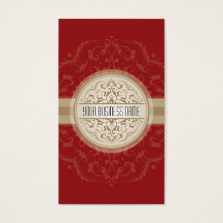 BUSINESS CARD modern oriental mandala red gold