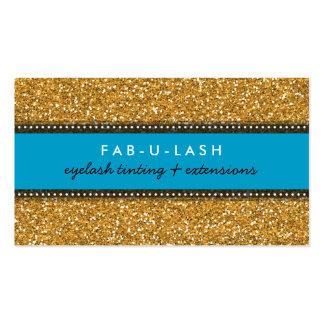 BUSINESS CARD modern trendy glitter aqua gold