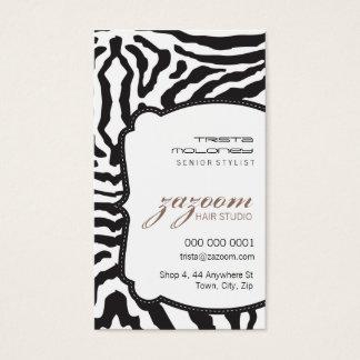 BUSINESS CARD modern zebra stripe mocha brown