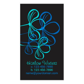 Business Card, Mommy Card Bright Blue on Black