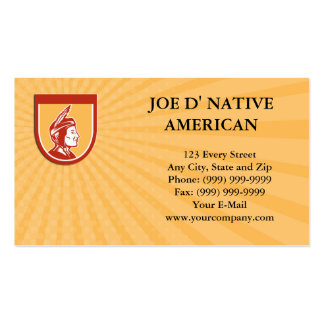 Business card Native American Indian Chief Shield