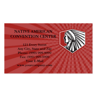 Business card Native American Indian Warrior Side