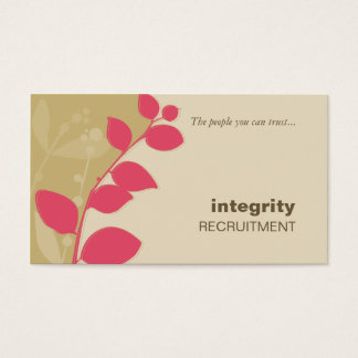 BUSINESS CARD nature foliage silhouette coral gold