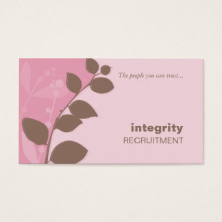 BUSINESS CARD nature foliage silhouette pink brown