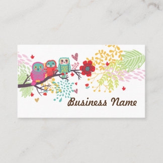 business card - owl, three owl, floral backgraound