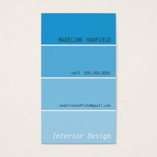 BUSINESS CARD paint chip swatch aqua blue